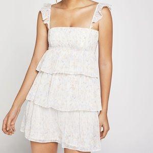 NEW BCBG floral tiered mini dress white multi XS
